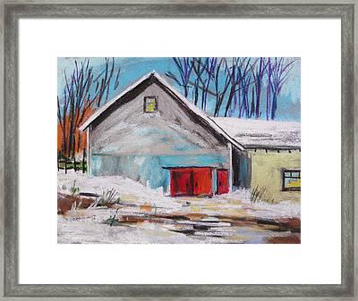Barnyard In Winter Framed Print