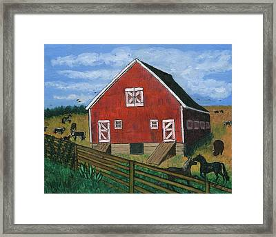 Barnyard On The Prairie Framed Print by Tanna Lee M Wells