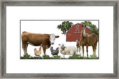 Barnyard Scene Framed Print