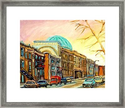 Baron Byng High School Rue St Urbain Montreal Memories Street Scene Canadian Art Carole Spandau Framed Print