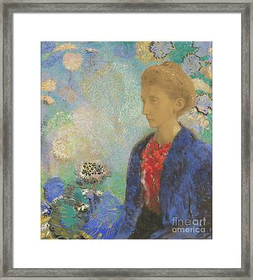Baronne De Domecy By Odilon Redon Framed Print by Esoterica Art Agency