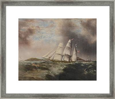 Barque Heading Out Off Anglesea In Choppy Seas Framed Print by Samual Walters