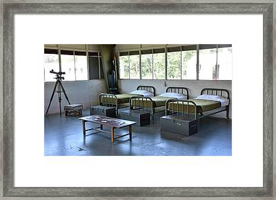 Framed Print featuring the photograph Barrack Interior At Fort Miles - Delaware by Brendan Reals
