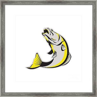 Barramundi Fish Jumping Up Isolated Retro Framed Print by Aloysius Patrimonio