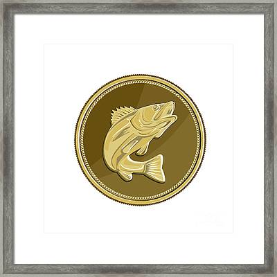 Barramundi Gold Coin Retro Framed Print by Aloysius Patrimonio