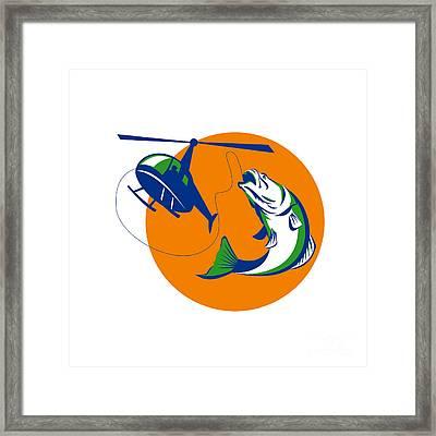 Barramundi Heli Fishing Sun Retro Framed Print by Aloysius Patrimonio