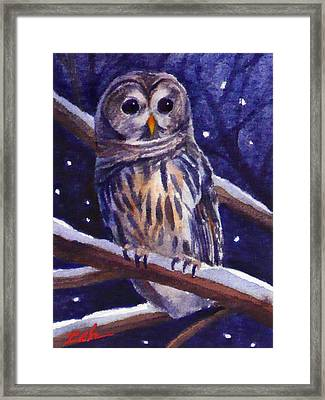 Barred Owl And Starry Sky Framed Print by Janet  Zeh
