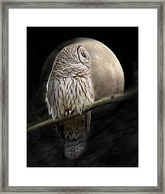 Barred Owl Moon Glow Framed Print