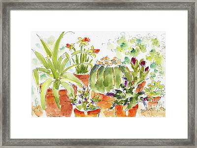 Framed Print featuring the painting Barrel Cactus And His Buddies by Pat Katz