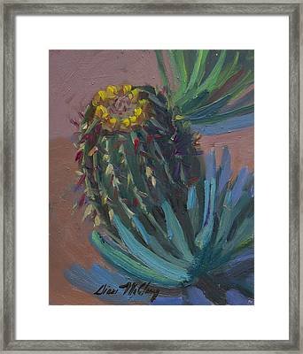 Barrel Cactus In Bloom - Boyce Thompson Arboretum Framed Print by Diane McClary