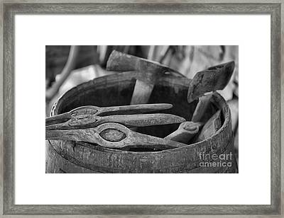 Barrel Of Axes Black And White Framed Print