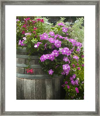 Barrel Of Flowers Framed Print