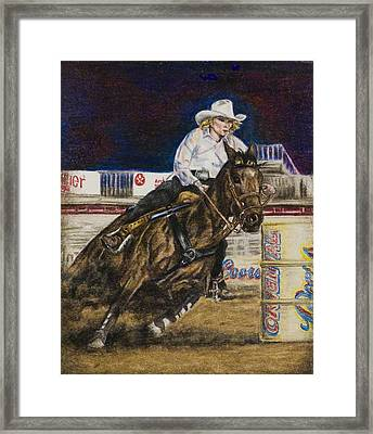 Barrel Racer Framed Print by Laurie Tietjen