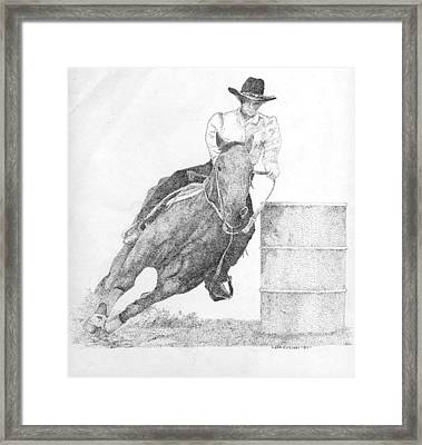 Barrel Racer Framed Print by Lucien Van Oosten