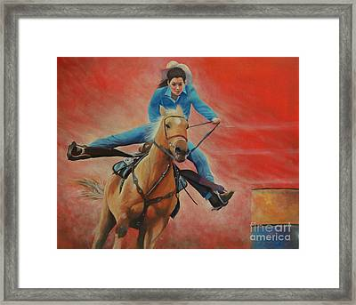 Barrel Racing Framed Print by Jeanette French