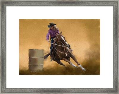 Barrel Racing Framed Print