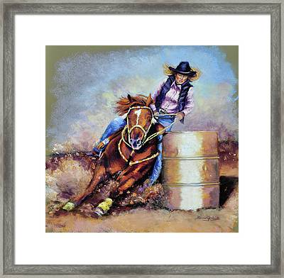 Barrel Rider Framed Print by Susan Jenkins