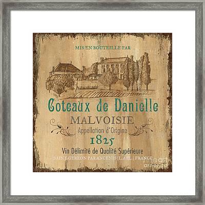 Barrel Wine Label 2 Framed Print by Debbie DeWitt
