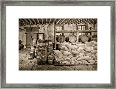 Barrels And Sacks Framed Print by James Barber