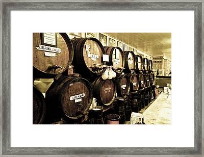 Barrels At Old Tavern Antigua Casa De Guardia Framed Print by Perry Van Munster