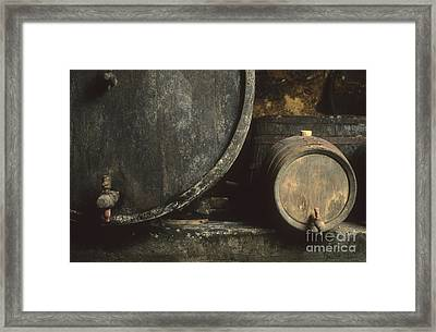 Barrels Of Wine In A Wine Cellar. France Framed Print