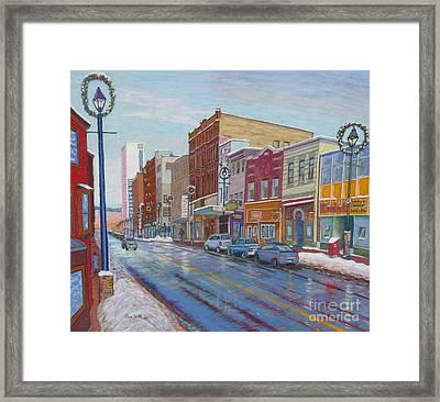 Barrington St In Winter Framed Print