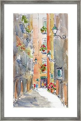 Framed Print featuring the painting Barrio Gotico Barcelona by Pat Katz