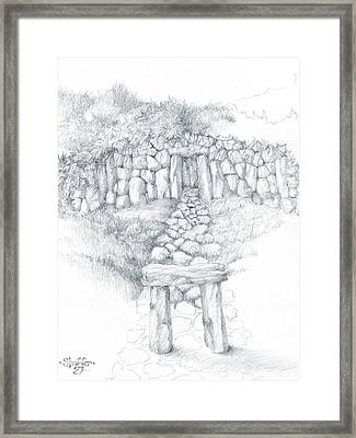Framed Print featuring the drawing Barrow Tomb by Curtiss Shaffer