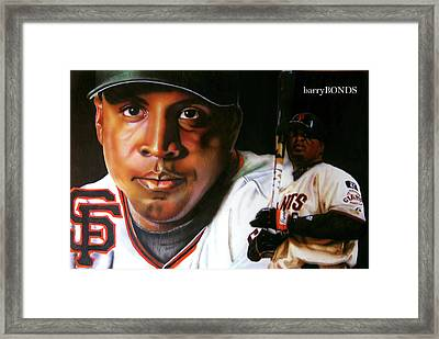 Barry Bonds Framed Print by Dwayne Lester