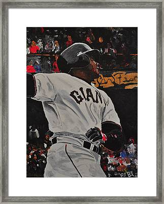 Barry Bonds Record Home Run  Framed Print by Ruben Barbosa
