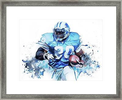 Barry Sanders Gridiron Greats Framed Print by Michael Pattison