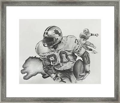 Barry Sanders Framed Print by Justin Ramsey