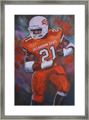 Barry Sanders, Oklahoma State Framed Print by Nora Sallows