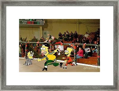 Bart Vs Homer Simpson At The Roller Derby Framed Print by Jim Fitzpatrick