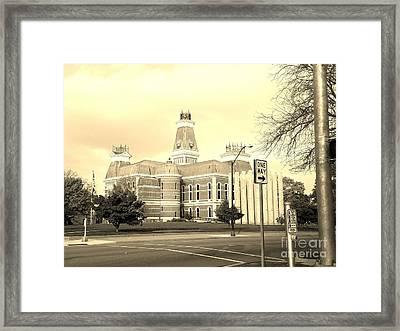Bartholomew County Courthouse Columbus Indiana - Sepia Framed Print
