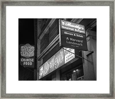 Bartley's Burgers And The Hong Kong In Harvard Square Cambridge Ma Black And White Framed Print