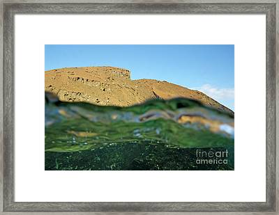 Bartolome Island Rock And Water Surface Framed Print by Sami Sarkis