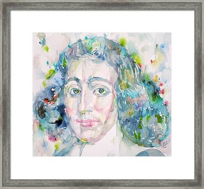 Baruch Spinoza - Watercolor Portrait Framed Print by Fabrizio Cassetta