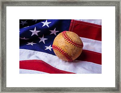 Baseball And American Flag Framed Print by Garry Gay