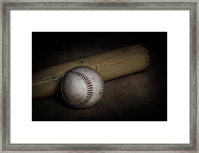 Baseball And Bat Framed Print by Erin Cadigan