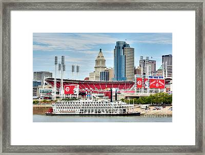 Baseball And Boats In Cincinnati Framed Print by Mel Steinhauer