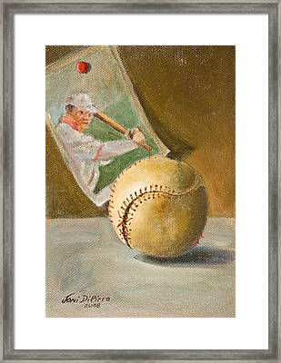 Baseball And Card Framed Print by Joni Dipirro