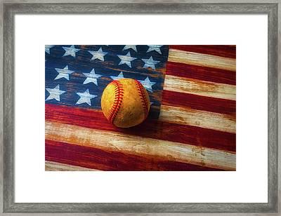 Baseball And Folk Art Flag Framed Print by Garry Gay