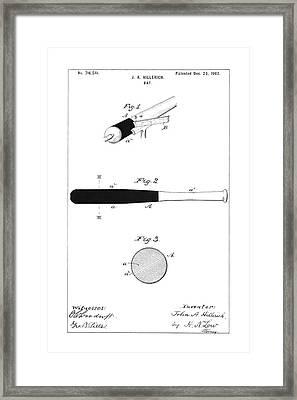 Baseball Bat - Restored Patent Drawing For The 1902 John Hillerich Basebal Bat Framed Print by Jose Elias - Sofia Pereira