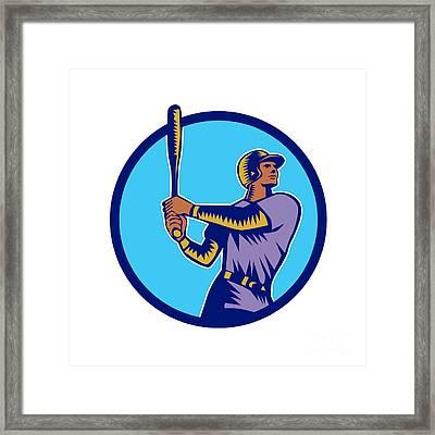Baseball Batter Batting Bat Circle Woodcut Framed Print by Aloysius Patrimonio