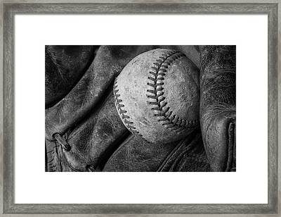 Baseball Black And White Framed Print