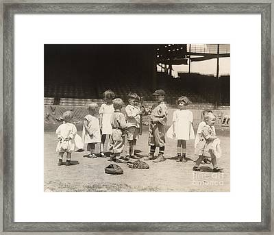 Baseball: Boys And Girls Framed Print by Granger