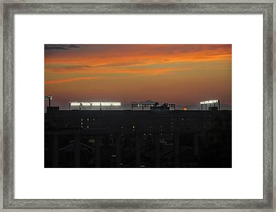 Baseball Camden Yards Sunset Framed Print by Marianne Campolongo