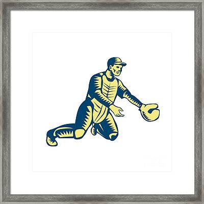 Baseball Catcher Catching Woodcut Framed Print