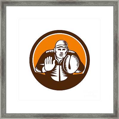 Baseball Catcher Gloves Circle Woodcut Framed Print
